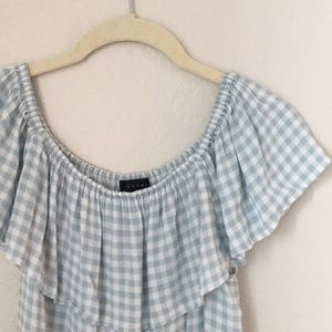 Sanctuary Anthropologie Blue Checkered Blouse M